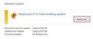 Restart PC to Finish Installing Updates