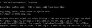 Windows Resource Protection found corrupt files and successfully repaired them