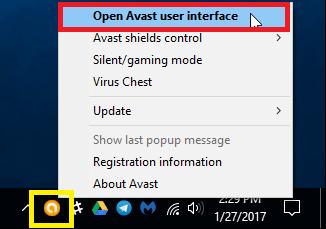 Avast icon system tray
