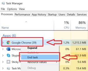 End task using task manager