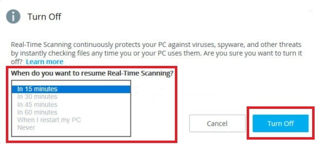 Turn off McAfee Realtime Protection
