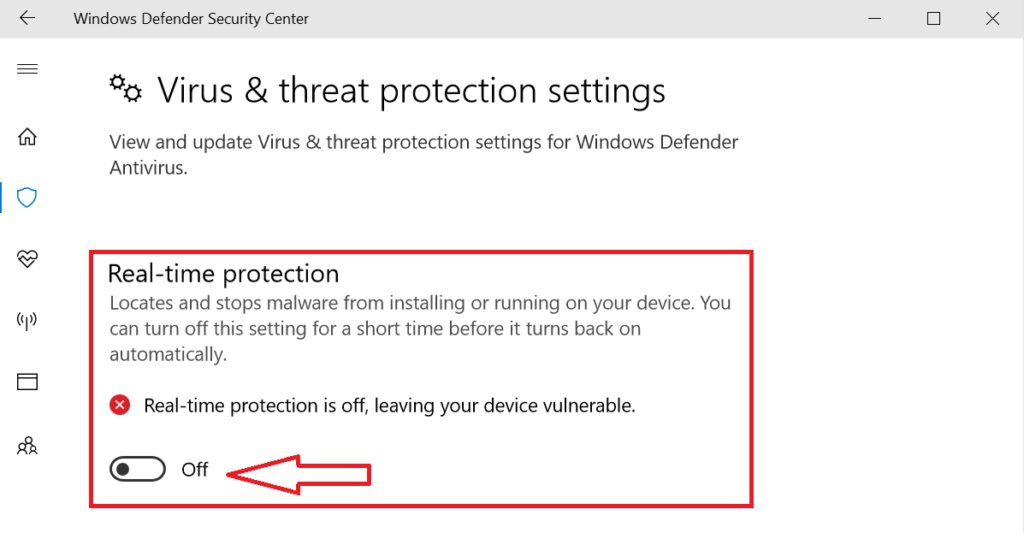 Windows Defender Real-time Protection Settings