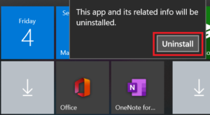 confirm uninstall action