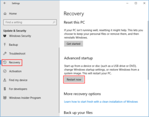 Windows Recovery Options Restart now