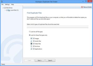 Auslogics look for these file types only option