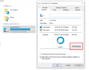 Windows Disk Cleanup from C Drive Properties